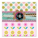 Trendy Girly Custom Embellished Square Car Magnet