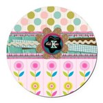 Trendy Girly Custom Embellished Round Car Magnet