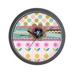 Trendy Girly Custom Embellished Wall Clock