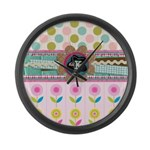 Trendy Girly Custom Embellished Large Wall Clock