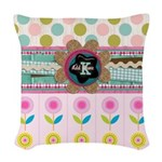 Trendy Girly Custom Embellished Woven Throw Pillow