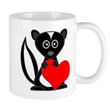 Cute Cartoon Skunk and Heart Mugs