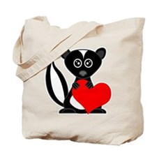 Cute Cartoon Skunk and Heart Tote Bag