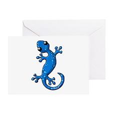 Blue Rain Lizard Greeting Card