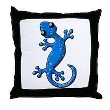 Blue Rain Lizard Throw Pillow
