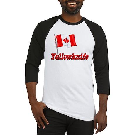 Canada Flag - Yellowknife Text Baseball Jersey