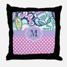 Pink Purple Blooms Personalized Throw Pillow