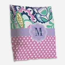 Pink Purple Blooms Personalized Burlap Throw Pillo
