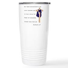 Romans 5:8 With Cross Travel Mug