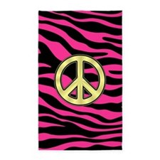 HOT PINK ZEBRA GOLD PEACE 3'x5' Area Rug