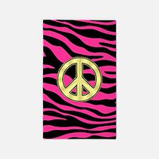 HOT PINK ZEBRA GOLD PEACE 3'x5' Area Rug