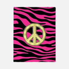 HOT PINK ZEBRA GOLD PEACE Twin Duvet
