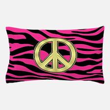 HOT PINK ZEBRA GOLD PEACE Pillow Case