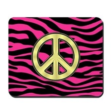 HOT PINK ZEBRA GOLD PEACE Mousepad