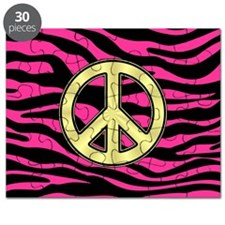 HOT PINK ZEBRA GOLD PEACE Puzzle