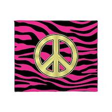 HOT PINK ZEBRA GOLD PEACE Throw Blanket