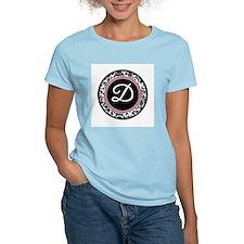 Letter D girly black monogram T-Shirt