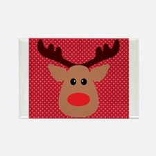 Red Nosed Reindeer on Red and White Magnets