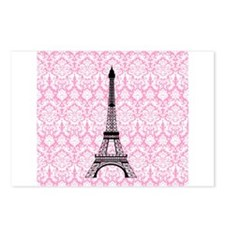 Eiffel Tower on Pink Damask Postcards (Package of
