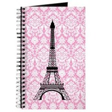 Eiffel Tower on Pink Damask Journal