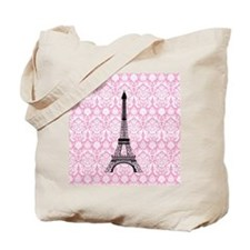 Eiffel Tower on Pink Damask Tote Bag