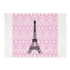 Eiffel Tower on Pink Damask 5'x7'Area Rug
