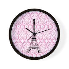 Eiffel Tower on Pink Damask Wall Clock
