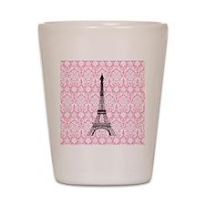 Eiffel Tower on Pink Damask Shot Glass