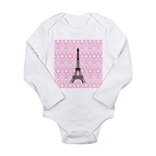 Eiffel Tower on Pink Damask Body Suit