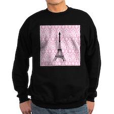 Eiffel Tower on Pink Damask Sweatshirt