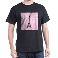 Eiffel Tower on Pink Damask T-Shirt