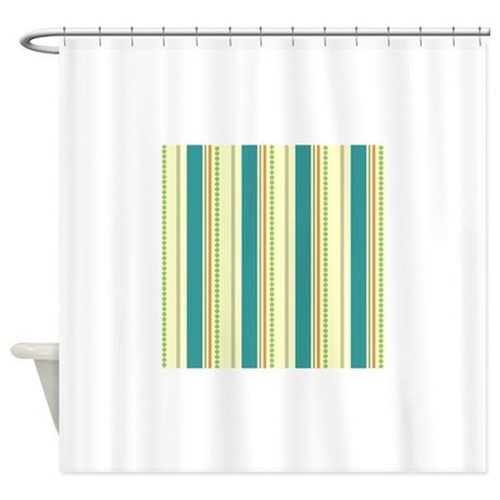 Retro Teal Orange Green Stripes Shower Curtain By ClipArtMEGAmart