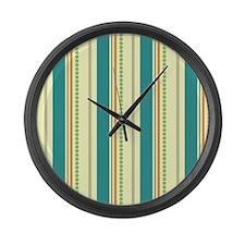 Retro Teal, Orange, & Green Stripes Large Wall Clo