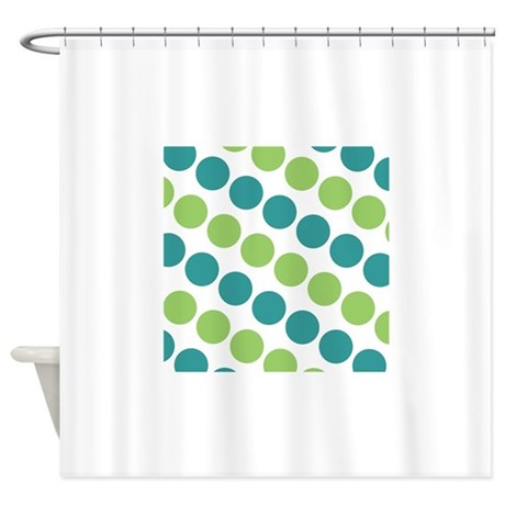 teal green and white polka dots shower curtain by clipartmegamart. Black Bedroom Furniture Sets. Home Design Ideas