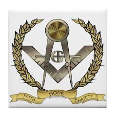 Faith, Hope, Charity, Acacia Tile Coaster
