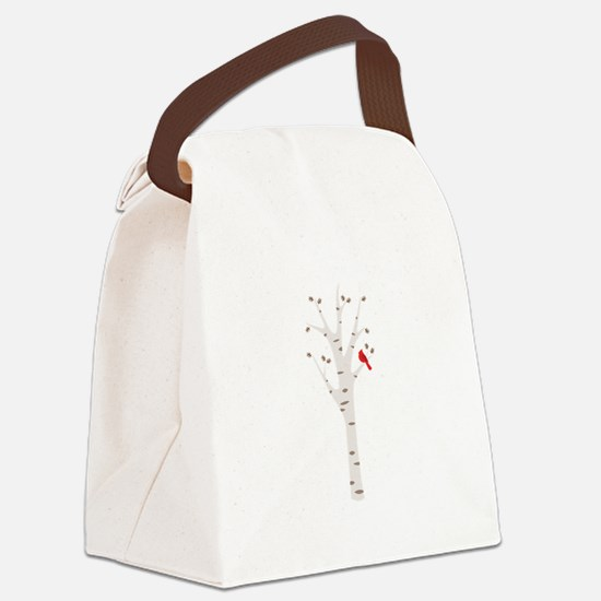 Winter Birch Tree Cardinal Bird Canvas Lunch Bag