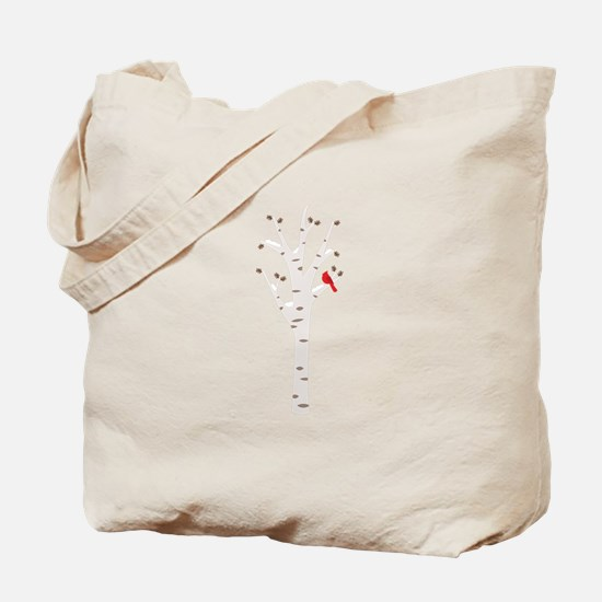 Winter Birch Tree Cardinal Bird Tote Bag