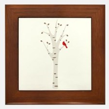 Winter Birch Tree Cardinal Bird Framed Tile