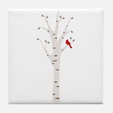 Winter Birch Tree Cardinal Bird Tile Coaster