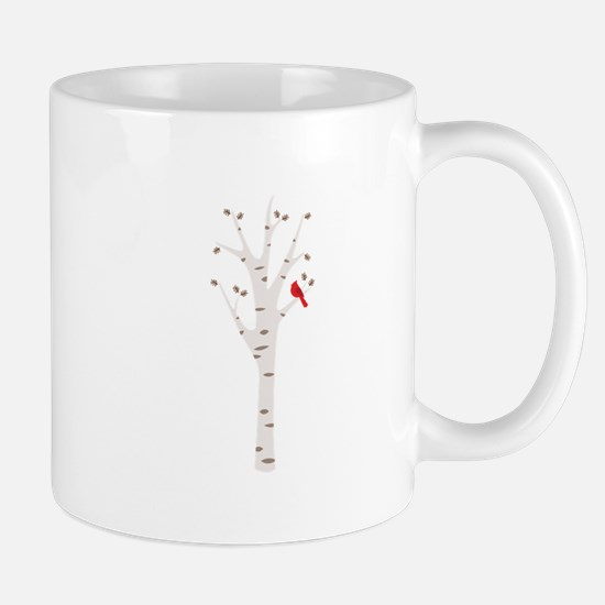 Winter Birch Tree Cardinal Bird Mugs