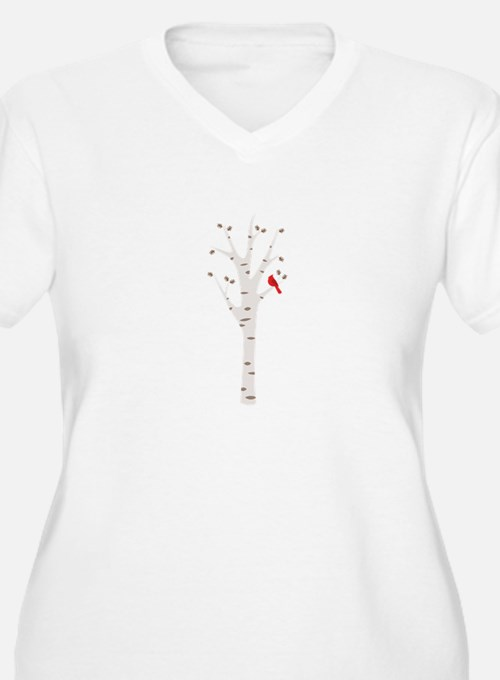 Winter Birch Tree Cardinal Bird Plus Size T-Shirt