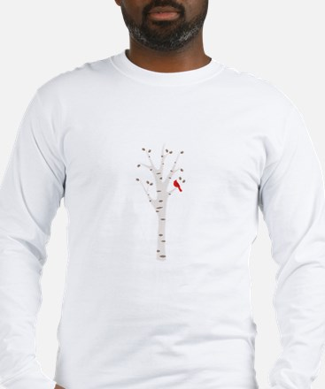 Winter Birch Tree Cardinal Bird Long Sleeve T-Shir