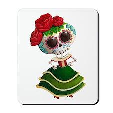 El Dia de Los Muertos Skeleton Girl Mousepad