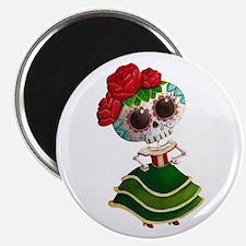 El Dia de Los Muertos Skeleton Girl Magnets