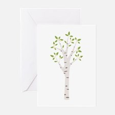 Spring Birch Tree Blooming Flowers Greeting Cards