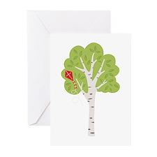 Summer Birch Tree Kite Greeting Cards