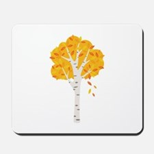 Fall Autumn Birch Tree Changing Leaves Mousepad