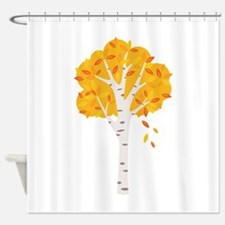 Fall Autumn Birch Tree Changing Leaves Shower Curt