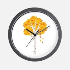 Fall Autumn Birch Tree Changing Leaves Wall Clock
