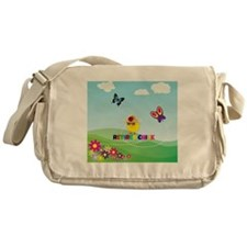 Retired Chick, Flowers and Butterfli Messenger Bag